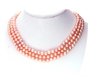 6-7mm Round Peach Pearl 3 Strand Necklace