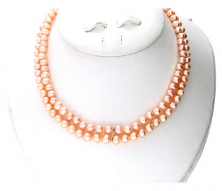 6-7mm Round Peach Pearl 2 Strand Necklace