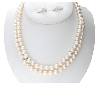 7-8mm 2 Strand White Pearl Necklace