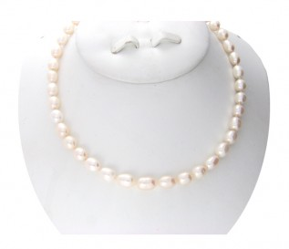 7-8mm Drop White Pearl 16 Inch Necklace