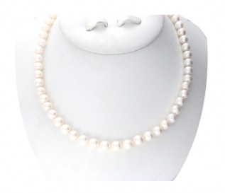 7-8mm Round White Pearl 16 Inch Necklace