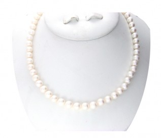 7-8mm Round White Pearl 18 Inch Necklace