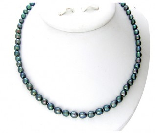 7-8mm Drop Black Pearl 16 Inch Necklace