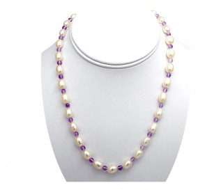 7-8mm White Pearl Necklace with Amethyst
