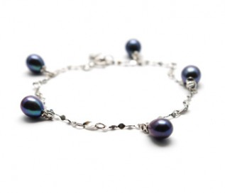 Black Pearl Silver Twisted Chain Bracelet