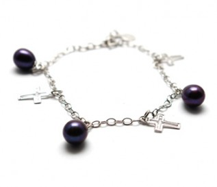 Black Pearl Silver Hanging Cross Bracelet