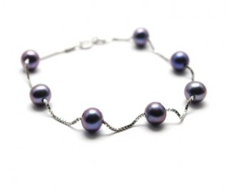 Black Round Pearl Silver Bracelet