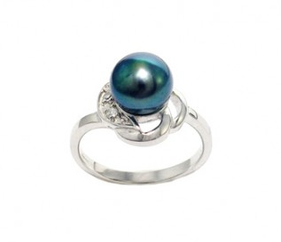 Black Freshwater Pearl Silver Knot Ring