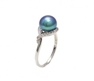 Black Freshwater Pearl Cz Silver Eye Ring