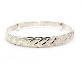 925 Silver Expandable Patterned Bangle