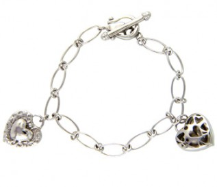 925 Silver Double Heart Charm Bracelet