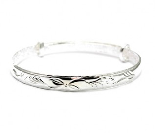 925 Silver Flower Pattern Expandable Bangle