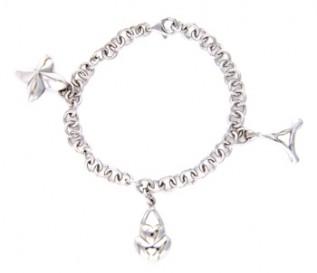 925 Silver Three Charm Bracelet