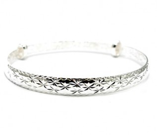 925 Silver Star Design Expandable Bangle
