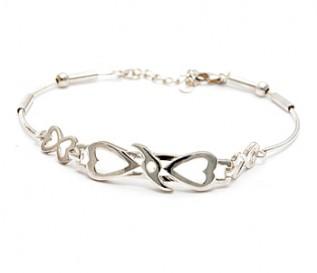 925 Silver Double Heart Bracelet