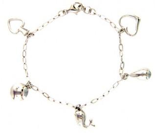 925 Sterling Silver Multi Charm Bracelet
