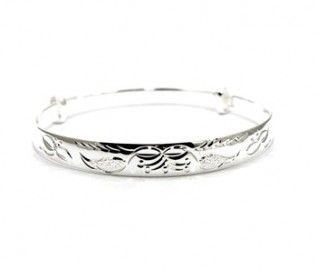 925 Silver Floral Pattern Expandable Bangle