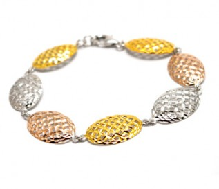 925 Silver Three Colour Mesh Bracelet