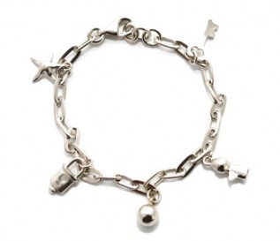 925 Silver Star And Key Charm Bracelet