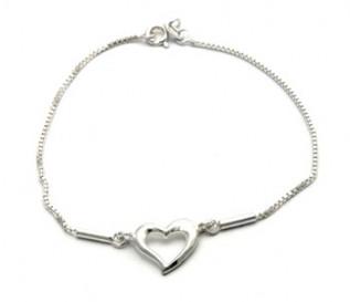925 Silver Single Heart Bracelet