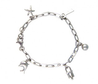 925 Silver Star And Dolphin Charm Bracelet