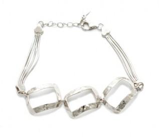 925 Silver Hammered Discs Bracelet