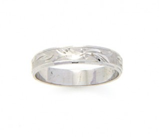 925 Sterling Silver Leaf Design Band