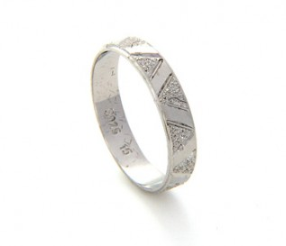 925 Silver Zig Zag Patterned Band