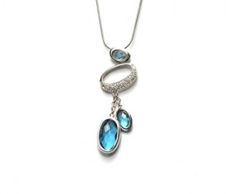 Blue And White Cz Silver Ovals Pendant