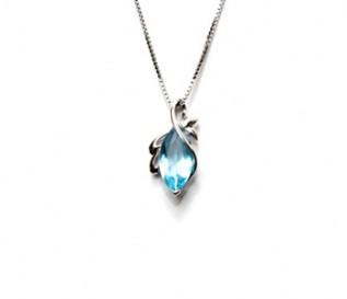Blue CZ Silver Pendant