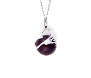 Deep Red CZ Silver Ball Pendant