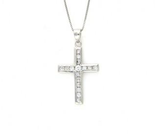 Cz Silver Cross Pendant