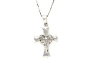 CZ Silver Cross With A Heart Pendant
