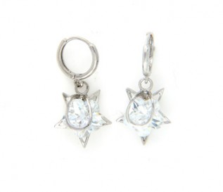 Cz Silver Dangling Star Earrings
