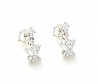 Cz Silver Butterfly Earrings