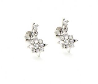 Cz Silver Flower Earrings