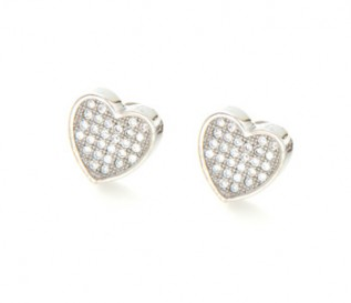 Cz Silver Micro Pave Set Heart Stud Earrings
