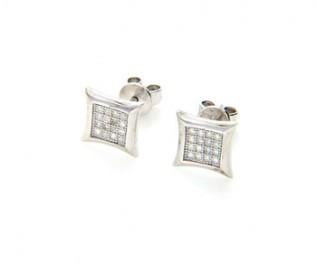 Cz Silver Micro Pave Set Stud Earrings