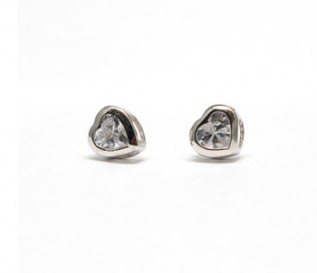 Cz Silver Heart Stud Earrings