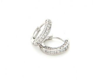 Cubic Zirconia Silver Hoop Earrings