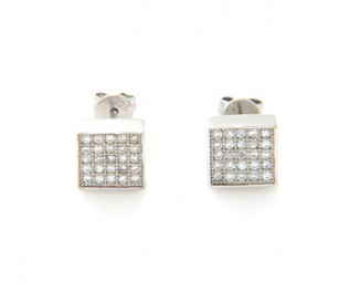 Cz Silver Micro Pave Set Square Earrings