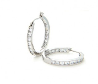 Cz Silver Hoop Earrings