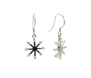 Cz Silver Snowflake Earrings