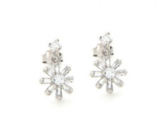 Cz Silver Sun Earrings