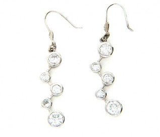 Cz Silver Zig Zag Bubbles Earrings