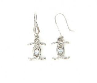 Cz Silver Dangling C Earrings