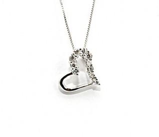 Cz Silver Tilted Heart Pendant