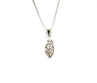 CZ Silver Delicate Heart Pendant