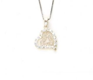 CZ Heart In Heart Pendant In Silver