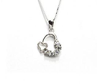 Cz Silver Heart in Heart Pendant